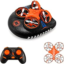 Mini Drone for Kids,Remote Control Boats for Pools and Lakes,RC Car for Kids or Adults,EACHINE E016F 3-in-1 Sea-Land-Air Mode Switchable Waterproof Hovercraft Toy RC Quadcopter RTF photo