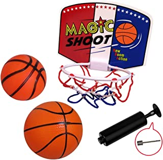 WEY&FLY Plastic Basketball Set Hoop Game Toy, Kids Junior Basketball Play Set for Kid Education and Basketball Lovers, with Two Balls and Pump
