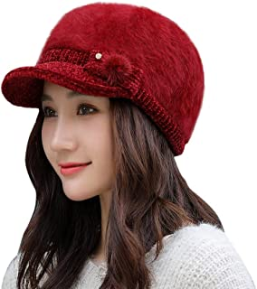 Quaanti Womens Winter Elegant Cable Flower Knitted Newsboy Cabbie Cap Beret Beanie Hat with Visor, Warm Baggy Crochet Ski Cap (Wine)