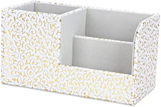 KINGFOM Leatherette Desk Organizer Pen/Pencil/ Remote Control/Cell Phones/Brushes Holder Office Container Storage Box (S-Gold&White)