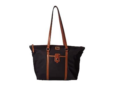 Dooney & Bourke Camden Large Zip Tote (Black/Dark Chocolate Trim) Tote Handbags