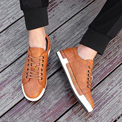 Zapatos de Cordones para Hombre Conducción Zapatillas Cuero Casual Shoes Attività Commerciale Sneakers Negro Gris Marrón Amarillo 38-48 Amarillo 44