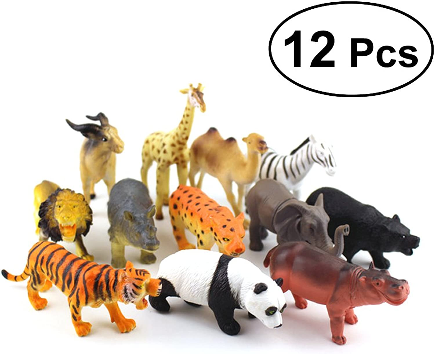TOYMYTOY Animal Figure Toy 12Pcs Plastic Animals Figure Early Education Cognitive Toys for Kids Toddlers
