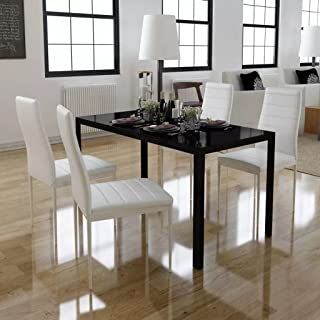 Vislone Conjunto de Mesa y 4 Sillas de Comedor Mesa de Comedor con Sillas de Vidrio Templado Negro y Blanco