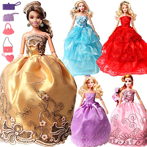 Barbie Clothes Pack of 5 Colorful Clothes 360°Sewing Party Wedding Dress Gown Mini Skirts for 11.5 Inches Girl Doll (Random Styles)