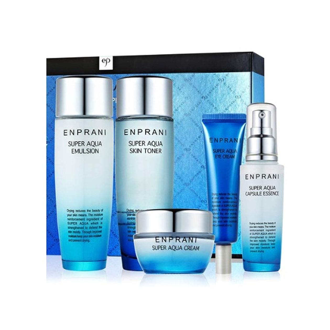 翻訳者以上滝エンプラニスーパーアクアスキンケアセット(トナー150ml、エマルジョン150ml、クリーム50ml、アイクリーム30ml、エッセンス55ml) Enprani Super Aqua Skin Care Set(Toner、Emulsion、Cream、Eye Cream、Essence) [並行輸入品]