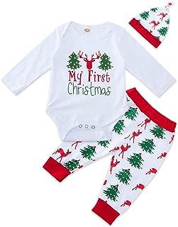 My 1st Christmas Outfit Baby Boys Girls Funny Xmas Romper Newborn Infant Shirt Pants Hat Set 0-18M