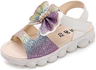 Fossen Zapatos de Princesas para Niña Lentejuelas Gradiente Bowknot Perla Hueca sin Dedos Cabeza de Pescado Sandalias Vera...