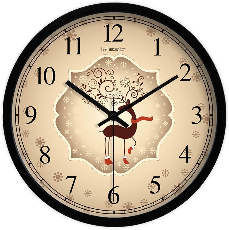 edición limitada HomeClock Silencio Sala de de de Estar Reloj de Parojo Retro Minimalista Dibujos Animados de Alce 14 Pulgadas Marco Negro  moda clasica