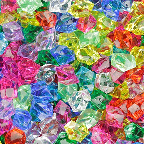 Entervending Acrylic Gems - Plastic Fake Gems Ice Rock Crystals - 152 Pcs Fake Treasure Jewels for Kids - Large Acrylic Gem Stones - Fake Crystals for Decoration - Aquarium Jewels - Crushed Ice Rocks