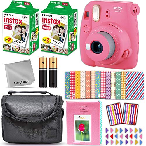 Fujifilm Instax Mini 9 Instant Camera Flamingo Pink + Fuji INSTAX Film (40 Sheets) + Accessories Kit Bundle Includes; Protective Case with Strap + Photo Album + 60 Colorful Sticker Frames + More