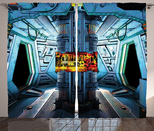 Ambesonne Outer Space Curtains, Space Ship Station Base Control Room Technology Elements Features Image, Living Room Bedroom Window Drapes 2 Panel Set, 108' X 84', Blue Black