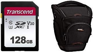 Transcend SDC300S - Tarjeta de Memoria SDXC de 128 GB Color Plata & AmazonBasics - Funda para cámara de Fotos réflex Color Negro