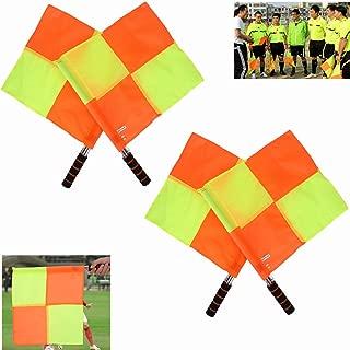 Nosii Command Flag Signal Flag Referee Flag 2PCS Referee Linesman Flag with Storage Bag for Sports Match Soccer Football Hockey Training