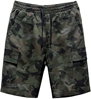 Mens Sport Cargo Shorts Camouflage Printing Casual Trunks Sweatpants Pants Summer Beach Trousers with Pockets