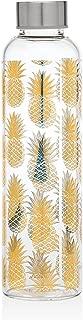 Godinger Borosilicate Glass Pineapple Bottle - for Water, Beverage, Juice | 20 Oz. | Stainless-Steel Leak-Proof Cap | BPA Free