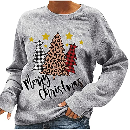 Women's Merrry Christmas Thanksgiving Sweatshirts Holiday Vacation Graphic Tops Long Sleeve Lightweight Pullover Shirts is $13 (68% off)
