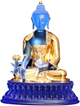Colored Glaze Decoration Gift Ornaments Tibetan Tantra Stickers Real Gold Cobalt Blue Medicine Buddha Statue