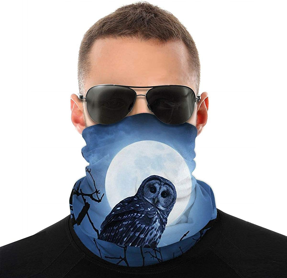 KiuLoam Midngiht Owl with Full Moon Seamless Face Mask Bandanas Neck Gaiter for Men and Women, Multifunction Headband Scarf for Dust, Outdoors, Sports