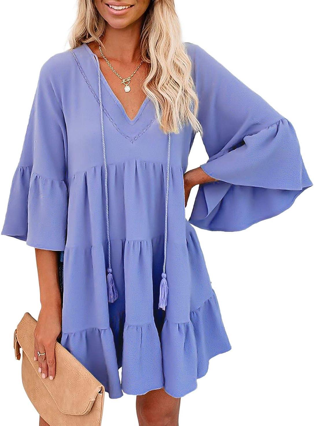 BTFBM Women Casual Babydoll Dresses V Neck Ruffle Bell Short Sleeve Tassel Drawstring Summer Solid Swing Mini Dress