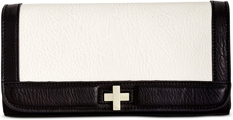 INC Womens Korra Faux Leather Colorblock Clutch Handbag B/W Small