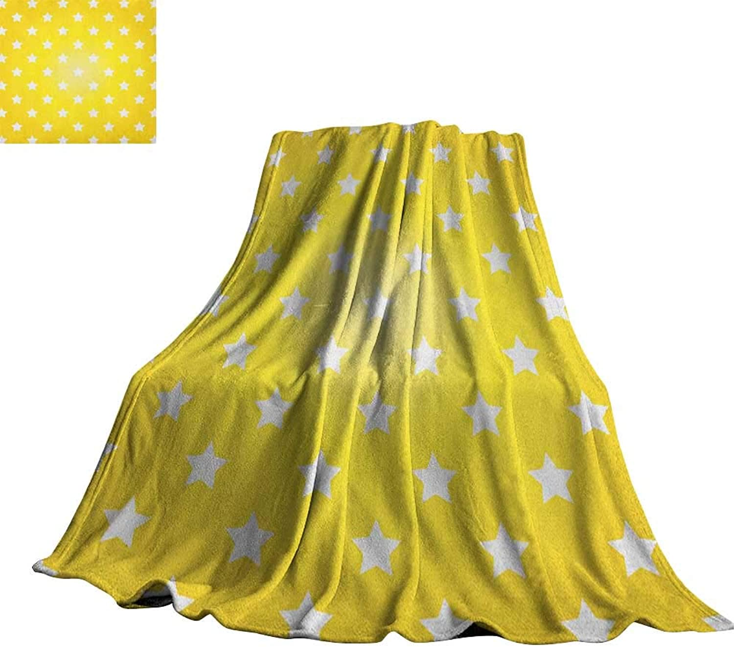Yellow,Baby Blanket Bursting Vibrant Hanging Stars Fun Retro Kids with Graphic Design Artistic Print Super Soft Cozy Throws 70 x50