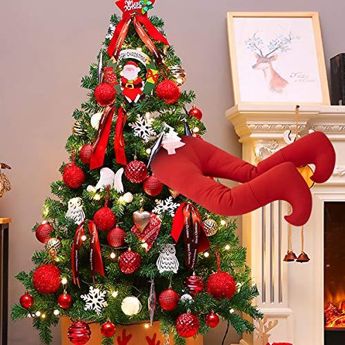 HechoVinen Piernas rellenas de Navidad 15.7 Piernas rellenas Decoración del árbol de Navidad Adornos del partido