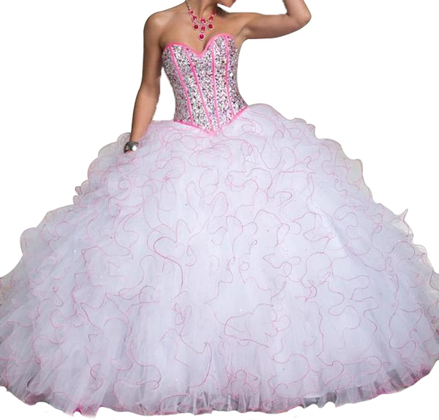 HSDJ Women's Sweetheart Corset Puffy Ruched Organza Long Quinceanera Gowns