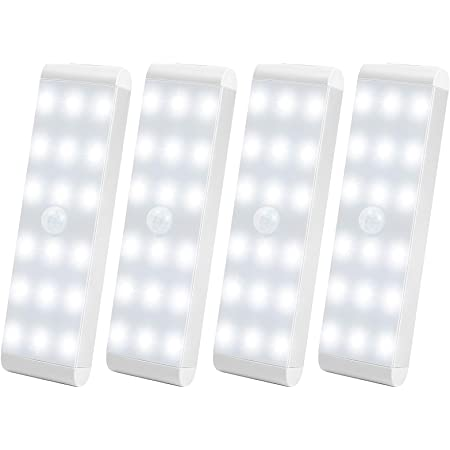 LED Closet Light,18-LED Dimmer USB Rechargeable Motion Sensor Closet Light Under Cabinet Wireless Stick-Anywhere Night Bar Safe Light with 600mAh Battery for Stairs,Wardrobe,Kitchen,Hallway (4 Packs)