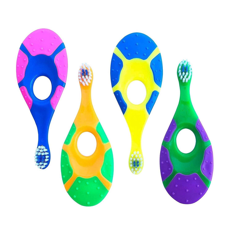 評価可能クルーどちらかGaoominy 4セットのベビー歯ブラシ - 信頼性 - 柔らかい剛毛 - 指ハンドル歯ブラシ 0?2歳用 - 子供の最初のセットランダムカラー