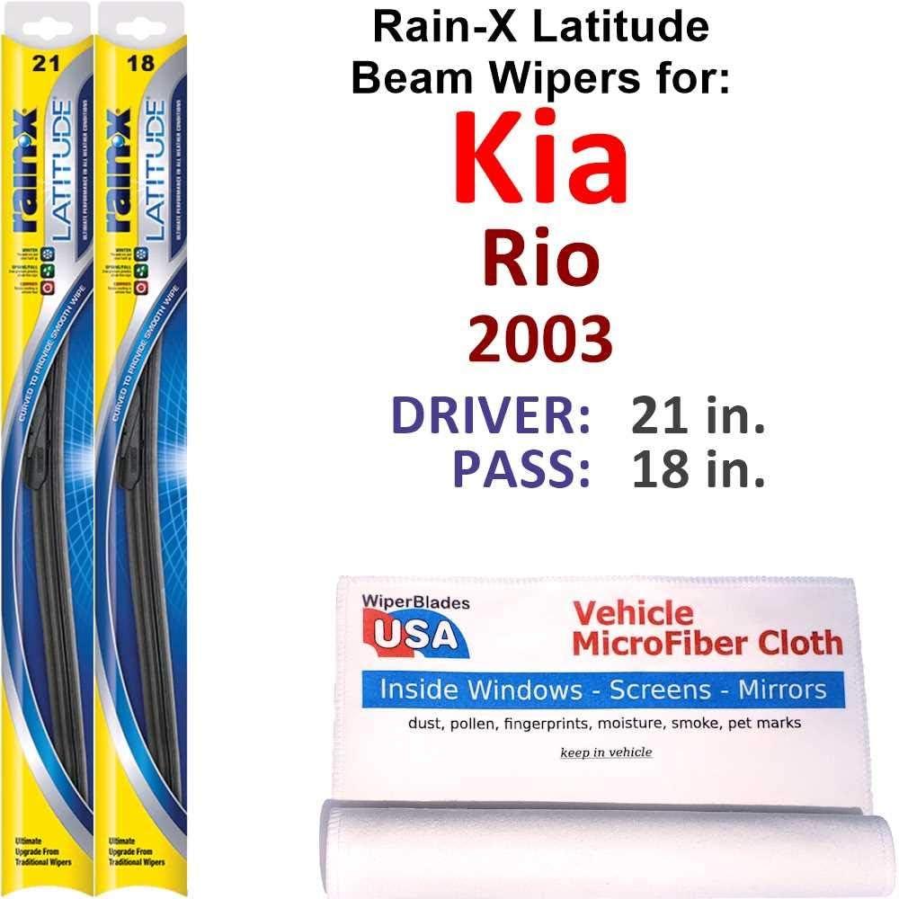Rain-X Jacksonville Mall Latitude Beam Wiper Blades for 2003 Kia La Set Rio Max 57% OFF