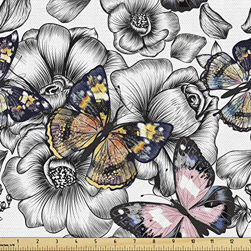 Ambesonne Butterfly Fabric by The Yard, Monarch Butterflies on Hand Drawn Flowers Nostalgic Retro Style Pattern, Decorative Fabric for Upholstery and Home Accents, 1 Yard, Grey Pink