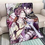 KaiWenLi Attack On Titan-Eren Jaeger and Levi · Ackerman/Cartoon Anime Blanket/Single-Sided Printing Pattern/Soft and Comfortable/Easy to Wash/Easy to Carry/Applicable to Adults, Children
