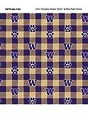 University of Washington Fleece Blanket Fabric-Washington Huskies Fleece Fabric with Buffalo Plaid Design
