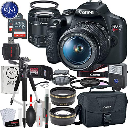 Canon EOS Rebel T7 DSLR Camera w/ EF-S 18-55mm Lens + 2 x 32 GB Memory +...