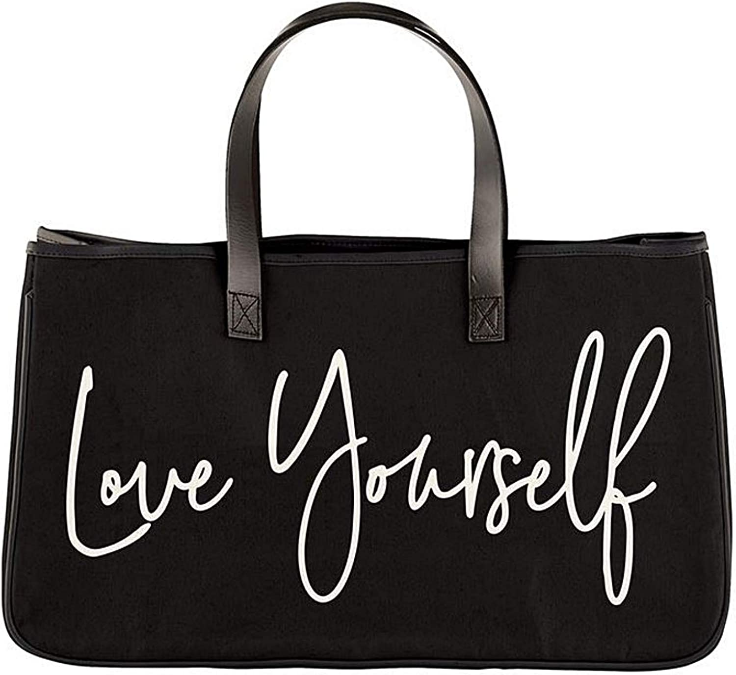 Black Canvas Tote Bag Love Large Purse Yourself Daily bargain It is very popular sale Quote Printed
