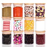 12 Piece Glass Storage Jars Set with Bamboo Lid, 6oz Glass Spice Canisters, Mini Glass Mason Jars with Airtight Lid for Kitchen Corner, Suit for Sugar, Cookies,Rice Flour and Other Dry Food Storage