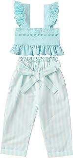OhhGo Ropa para niñas pequeñas, pantalones de rayas para uso diario casual (azul 5-6 años)