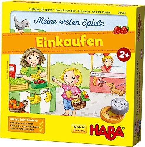 HABA 302781 – Meine ersten Spiele – Einkaufen, Spiel ab 2 Jahren mit 3D-Marktstand und Spielmaterial aus Holz