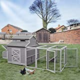 Super Large Outdoor Wooden Chicken Coop Hen House Poultry Cage for 8-10 Hens w/Ramps, Run, Nesting Box, Wire Fence, 115in