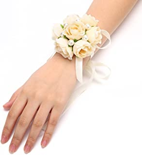 FAYBOX Girl Bridesmaid Wedding Wrist Corsage Party Prom Hand Flower Decor Pack of 4 Champagne