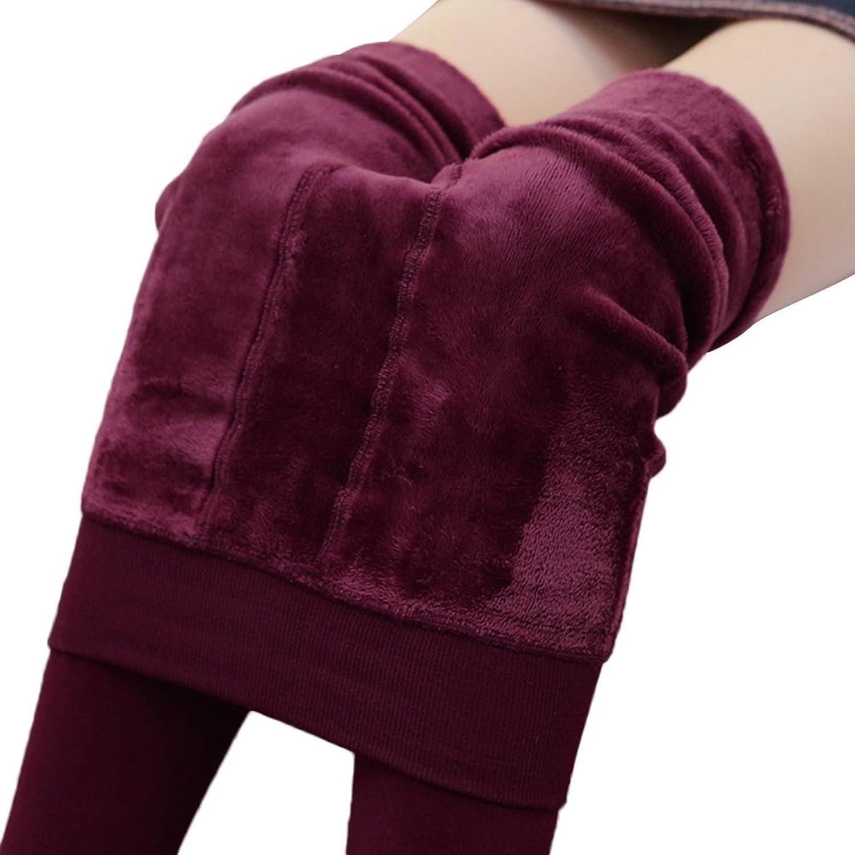 レギンス 女性着 冬着 暖かい 厚手のベルベットレギンス ハイウエスト 弾性あり ズボンパンツ クリスマスギフト ワインレッド