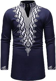 تي شيرت طويل للرجال من Luxfan مطبوع عليه قبلية Dashiki ملابس تقليدية مناسبة لشكل الجسم مقاس S-3XL