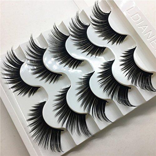 Faux Cils 100% 3D Naturel,5 Pairs RéUtilisable Faux Cils Cils Fait à La Main Naturel Ultra-Minces ÉPais Charmant Longue Volum Eye Duveteux Lashes (1cm-1.5cm, Noir)