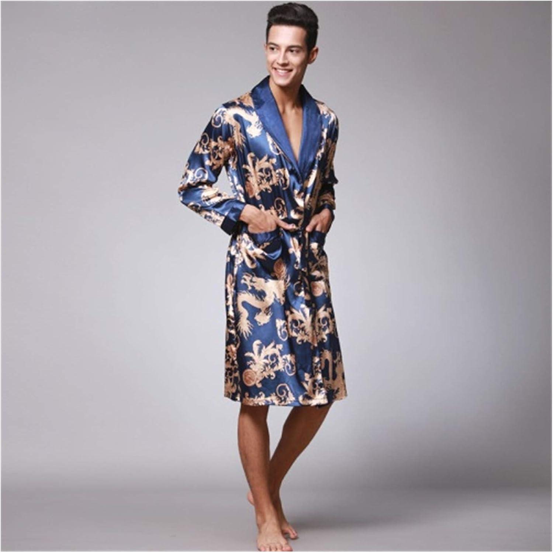 Spring Autumn Men's Bathrobes Printed Male Pajamas Full Sleeves Nightwear Sleepwear Satin Silk Robe Pyjama Belt Men Robe (Color : Blue, Size : XL)