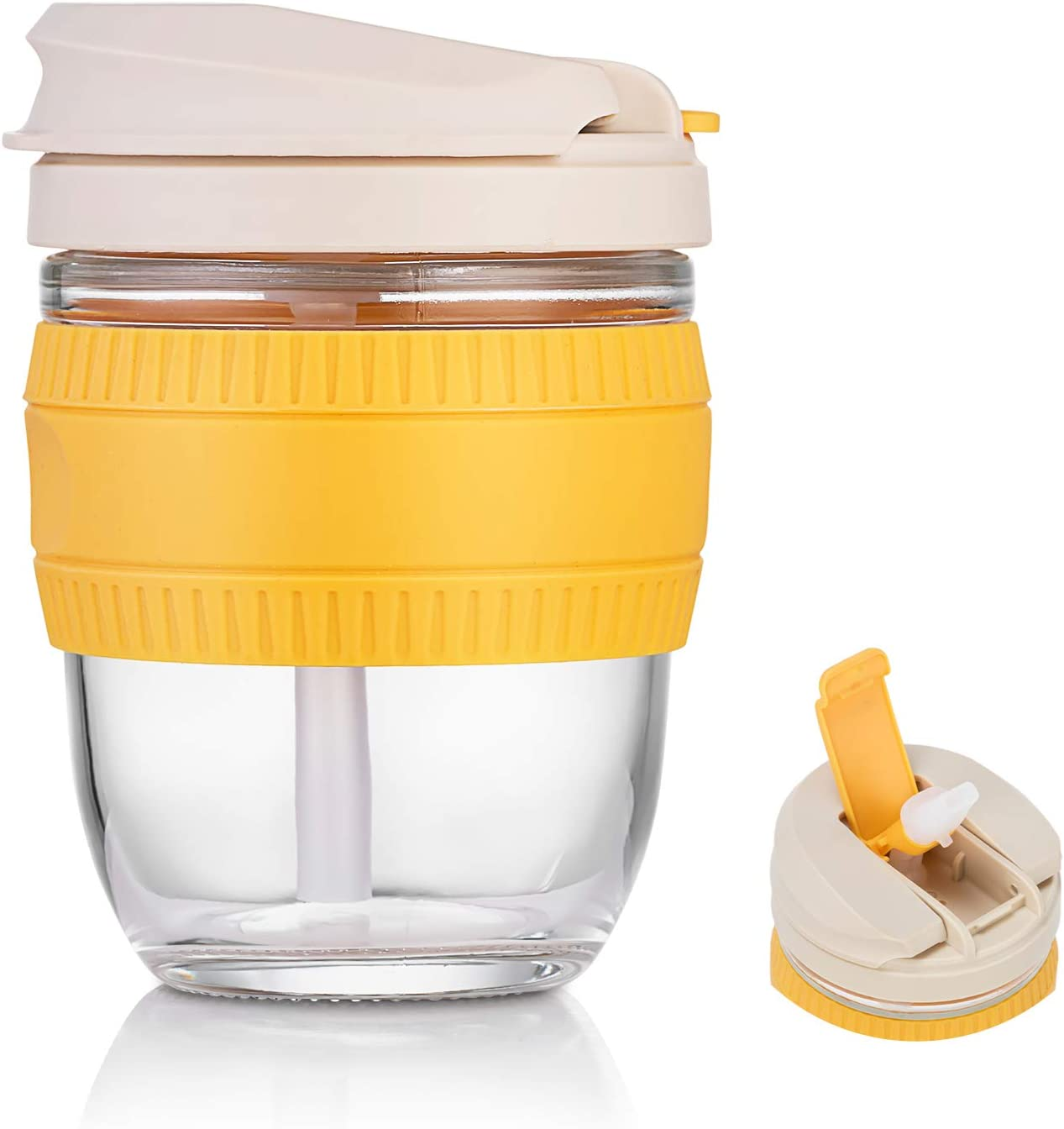Reusable Glass Coffee Cup 12oz-Glass Travel Mug with Lid/and Straw,Double Use Drinking Water Bottle for Juice Milk Coffee Yellow