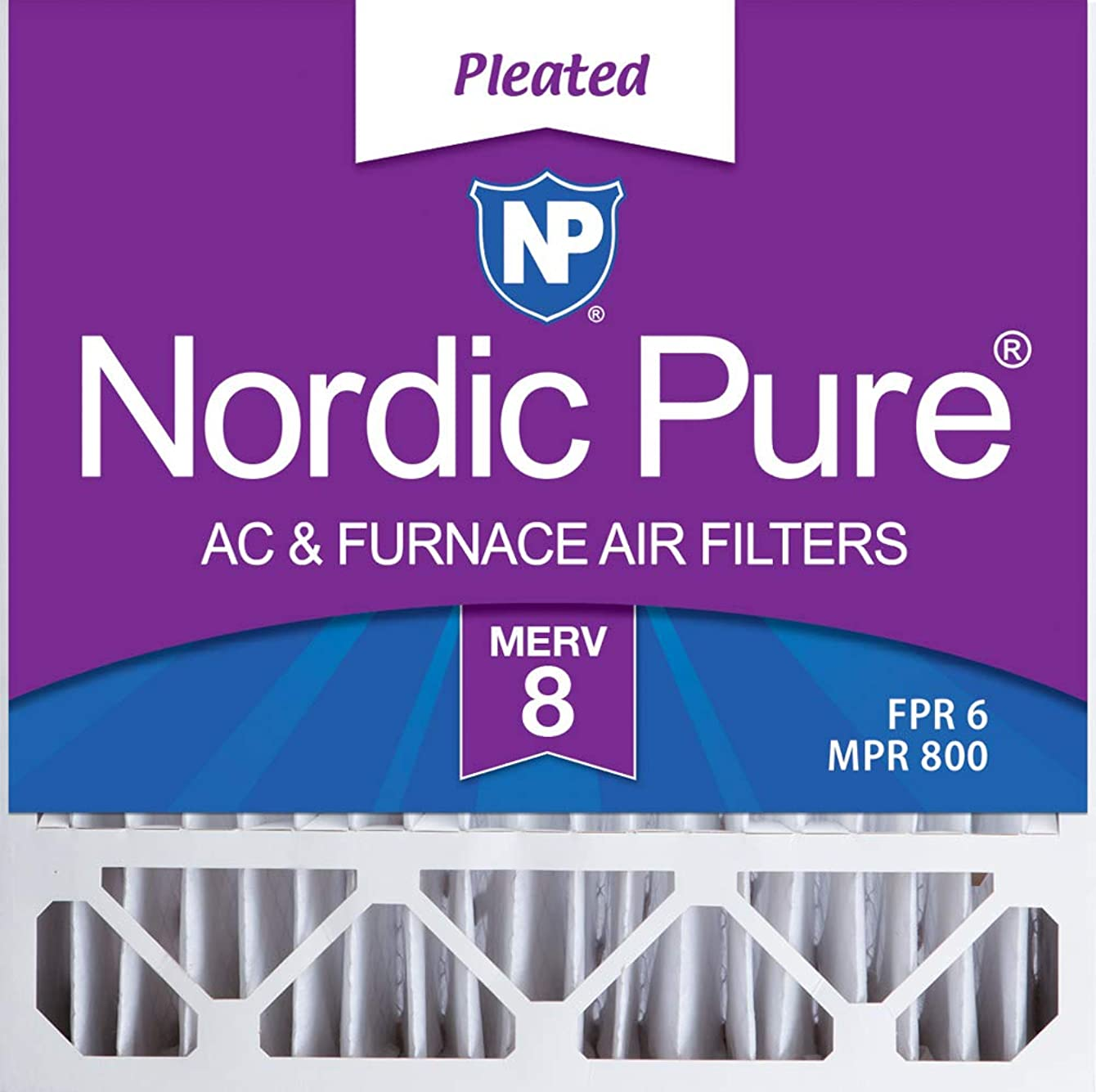 Nordic Pure 20x20x5 (4-3/8 Actual Depth) MERV 8 Honeywell Replacement Pleated AC Furnace Air Filter, Box of 1