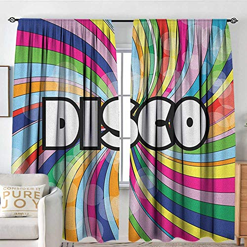 NUOMANAN Blackout Curtains for Bedroom Vintage Rainbow,Eighties Style Disco Advertisement with Swirled Spiral Colorful Stripes, Multicolor,Darkening and Thermal Insulating Draperies 100'x96'