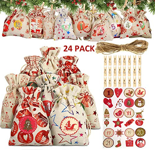 Juanssifer 24 Adventskalender zum Befüllen - Stoffbeutel, 1-24 Adventszahlen Aufkleber,Advents Kalender Weihnachtskalender Bastelset, Adventskalender 2020,Weihnachten Geschenksäckchen, (A)