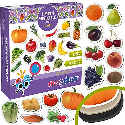 MAGDUM Photo Obst&Beeren&GEMÜSE - Magnete für die Küche -echte Grosse Kühlschrankmagnete für Kleinkinder-Magnetisches Lernspielzeug Baby 3 Jahre-Lernmagnete für Kinder - Kindermagnete
